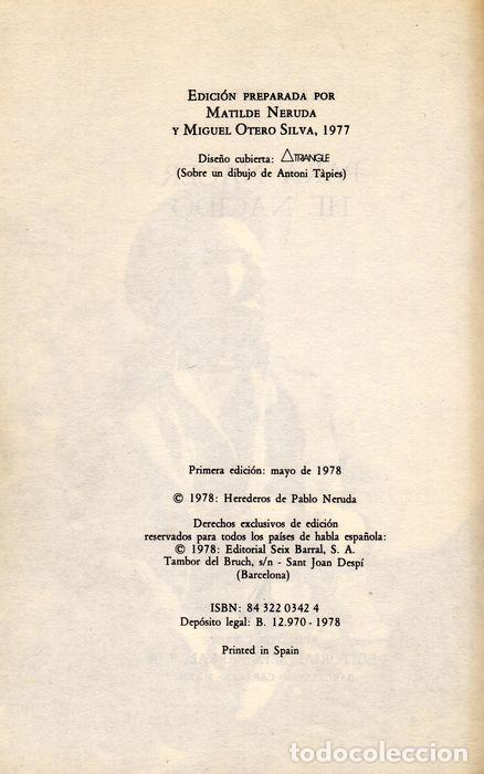 Libros: PARA NACER HE NACIDO. PABLO NERUDA. POESÍA PÓSTUMA. - Foto 2 - 227776657