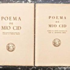 """Livros: """"POEMA DEL MIO CID. FACSIMIL POR D. RAMON MENENDEZ PIDAL"""" 2 LIBROS (FOTOGRAFIADO Y TRANSCRITO). Lote 252947035"""