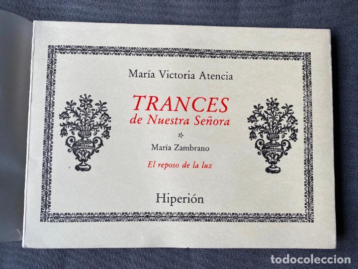 Libros: MARIA VICTORIA ATENCIA , TRANCES DE NUESTRA SEÑORA , POESIA , 1986 , DEDICATORIA MANUSCRITA - Foto 2 - 257633155
