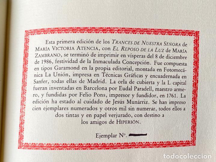 Libros: MARIA VICTORIA ATENCIA , TRANCES DE NUESTRA SEÑORA , POESIA , 1986 , DEDICATORIA MANUSCRITA - Foto 6 - 257633155