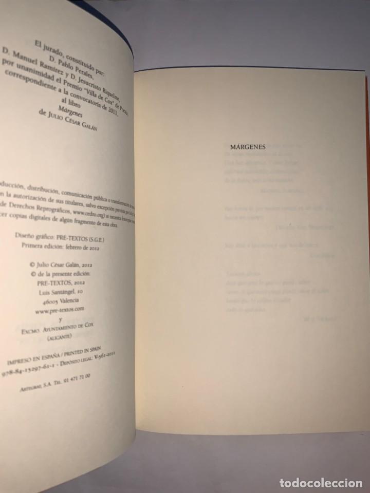 Libros: Márgenes. Julio César Galán. Ed. Pre-textos. Premio Villa de Cox 2011 - Foto 2 - 270632593