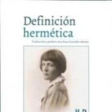 Libros: DEFINICION HERMETICA H.D.. Lote 297002098