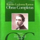 Libros: OBRAS COMPLETAS DE RAMIRO LEDESMA RAMOS 4 VOLUMENES GASTOS DE ENVIO GRATIS FALANGE. Lote 167669025