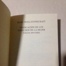 Libros: MARY WOLLSTONCRAFT. VINDICACIÓN DE LOS DERECHOS DE LA MUJER.. Lote 235616535