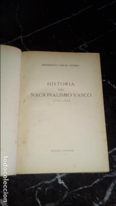 NACIONALISMO VASCO HISTORIA DEL NACIONALISMO VASCO. (Libros Nuevos - Humanidades - Política)