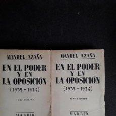 Libros: AZAÑA MANUEL. EN EL PODER Y EN LA OPOSICIÓN (1932-1934). Lote 155580842