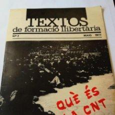 Libros: TEXTOS DE FORMACIÓN LIBERTARIA Nº 2. Lote 197187456