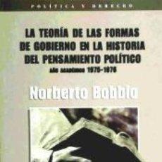 Libros: LA TEORIA DE LAS FORMAS DE GOBIERNO EN LA HISTORIA DEL PENSAMIENTO POLITICO. Lote 218696835