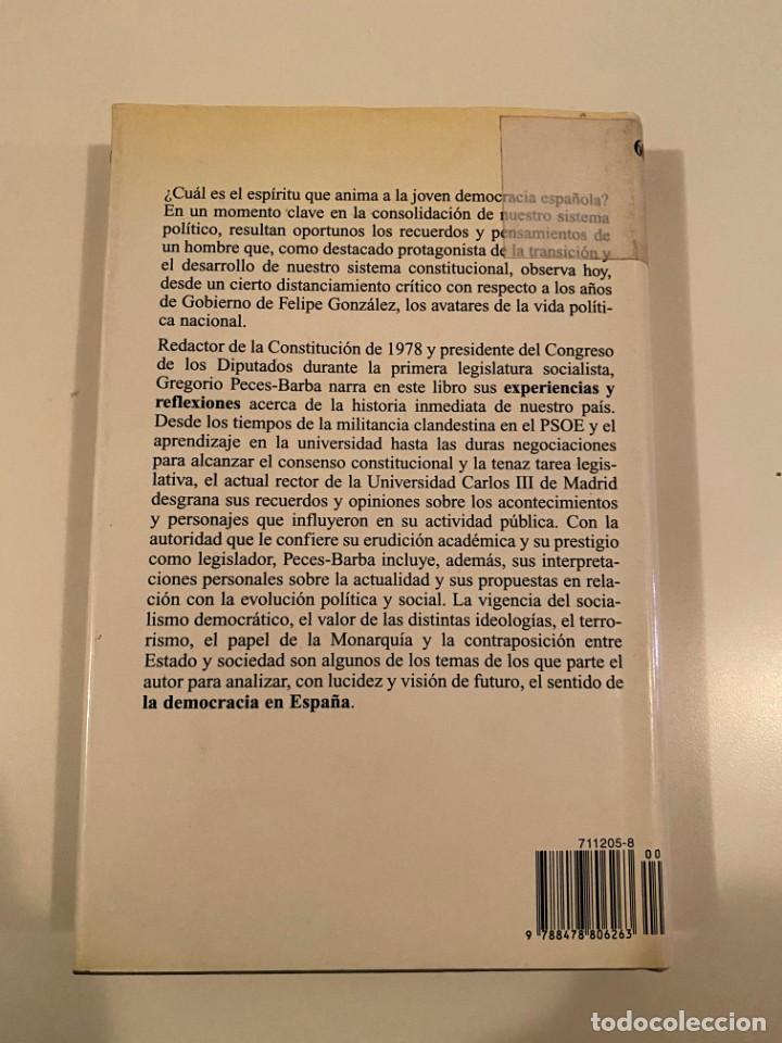 """Libros: """"LA DEMOCRACIA EN ESPAÑA"""" - GREGORIO PECES-BARBA - Foto 2 - 245197345"""