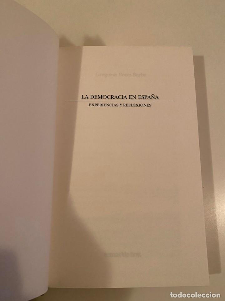 """Libros: """"LA DEMOCRACIA EN ESPAÑA"""" - GREGORIO PECES-BARBA - Foto 3 - 245197345"""