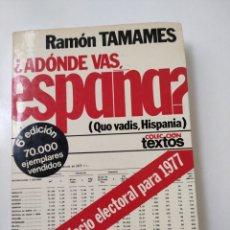 Libros: ¿ADÓNDE VAS ESPAÑA? RAMÓN TAMAMES.. Lote 258179530