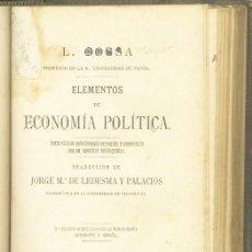 Libros: GUIA PARA EL ESTUDIO DE LA ECONOMIA POLÍTICA L. COSSA. 1884. Lote 269286823