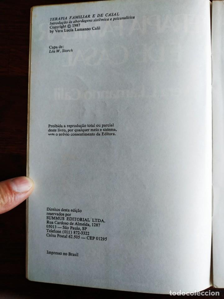 Libros: Libro Terapia Familiar e de casal. de Vera L. lamanno Calil. 1987 Terapias familiares y de pareja - Foto 3 - 199040188