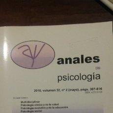 Libros: ANALES DE PSICOLOGÍA 2016. VOL 32, N.º 2. Lote 176421904