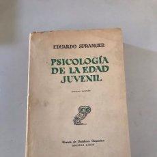 Libros: PSICOLOGÍA DE LA EDAD JUVENIL. Lote 179551873