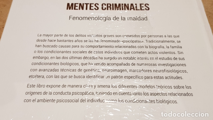 Libros: MENTES CRIMINALES / NEUROCIENCIA Y PSICOLOGÍA / 33 / PRECINTADO. - Foto 2 - 198133870