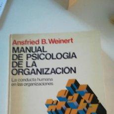 Libros: MANUAL PSICOLOGIA DE LAS ORGANIZACIONES. Lote 227741405