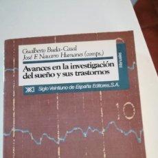 Libros: AVANCES EN INVESTIGACION DEL SUEÑO Y SUS TRASTORNOS. Lote 227743391