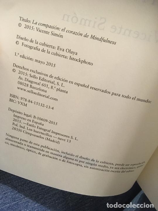 Libros: La compasion El corazón del mindfulness, Vicente Simón primera edición 2015. bien conservado - Foto 3 - 247490590