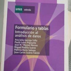 Libros: FORMULARIO Y TABLAS. INTRODUCCIÓN AL ANÁLISIS DE DATOS UNED. Lote 257937125