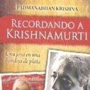 Libros: RECORDANDO A KRISHNAMURTI. Lote 162858046