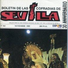 Libros: BOLETIN DE LAS COFRADIAS DE SEVILLA Nº 362 NOVIEMBRE 1989. Lote 194995490