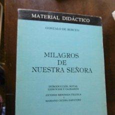 Libros: MILAGROS DE NUESTRA SEÑORA-GONZALO DE BERCEO. Lote 199301183