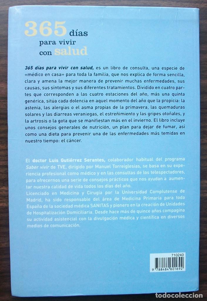 Libros: 365 DIAS PARA VIVIR CON SALUD. DR. LUIS GUTIERREZ SERANTES. - Foto 2 - 141239742