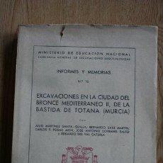 Libros de segunda mano: EXCAVACIONES EN LA CIUDAD DEL BRONCE MEDITERRÁNEO II, DE LA BASTIDA DE TOTANA (MURCIA).. Lote 30773123