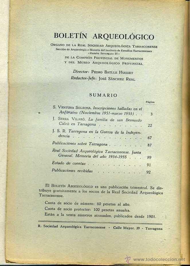 Libros de segunda mano: BOLETIN ARQUEOLOGICO TARRAGONA ENERO / JUNIO 1955 - VER ÍNDICE - Foto 2 - 40146993