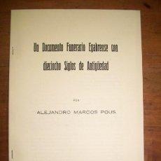 Libros de segunda mano - MARCO POUS, Alejandro. Un documento funerario egabrense con dieciocho siglos de antigüedad - 44877479