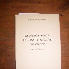 Libros de segunda mano: MELENA JIMÉNEZ, JOSÉ LUIS. ESTUDIOS SOBRE LAS INSCRIPCIONES DE CNOSO : TESIS DOCTORAL. Lote 261943620