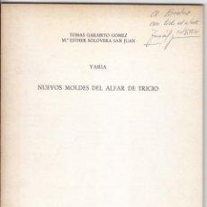 Livres d'occasion: NUEVOS MOLDES DEL ALFAR DE TRICIO. 1975 RIOJA. ARQUEOLOGÍA.. Lote 50823958