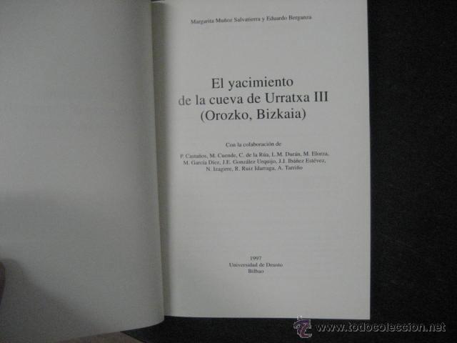 Libros de segunda mano: el yacimiento de la cueva de urratxa III orozko bizkaia, . Muñoz Salvatierra, arqueologia - Foto 3 - 51369184