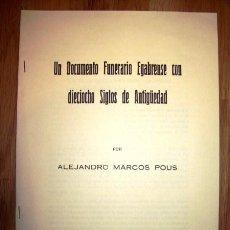 Libros de segunda mano - MARCO POUS, Alejandro. Un documento funerario egabrense con dieciocho siglos de antigüedad - 64111683