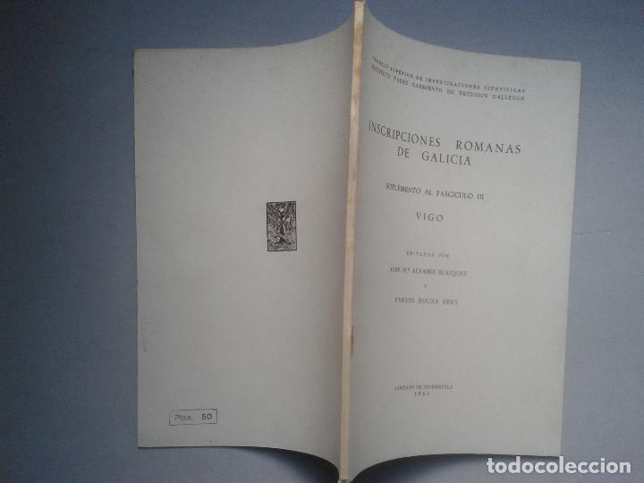 Libros de segunda mano: Inscripciones Romanas de Galicia. Vigo. Edita Jose Mª Álvarez Blazquez y Fermín Bouza Brey. Año 1961 - Foto 6 - 64313871