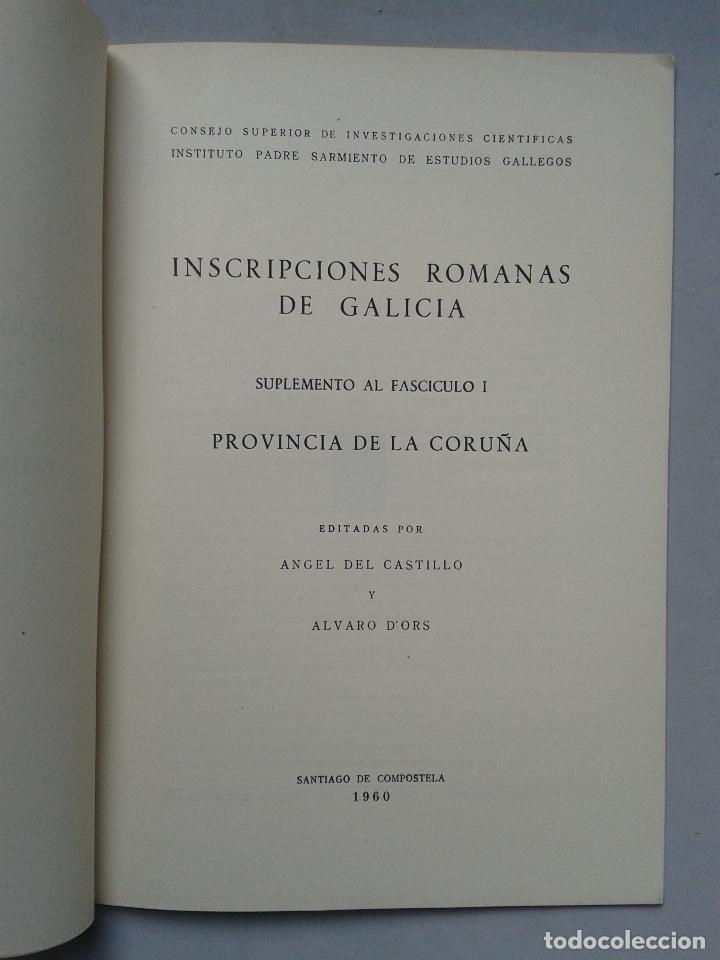 Libros de segunda mano: Inscripciones Romanas de Galicia. Coruña. Edita Ángel del Castillo y Álvaro D`ors. Año 1960. - Foto 2 - 67030362