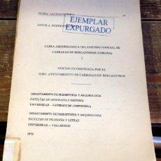 Libros de segunda mano: CARTA ARQUEOLÓGICA DEL PARTIDO JUDICIAL DE CARBALLO DE BERGANTIÑOS (CORUÑA). Lote 96079471
