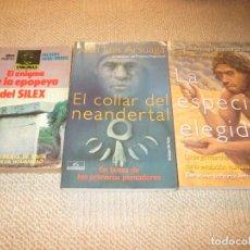 Lote tres libros prehistoria, Juan Luis Arsuaga, y Jacques Debu-Bridel