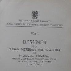 Libros de segunda mano: MEMORIA DE LOS TRABAJOS REALIZADOS EN LAS RUINAS DE ADMERCURI Y TABERNES LARACHE 1940 MARRUECOS. Lote 112658599