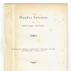 Libros de segunda mano: [1962. DEDICATORIA] LLOMPART, GABRIEL / JOSÉ MASCARÓ. HONDAS BALEARES. . Lote 113139759