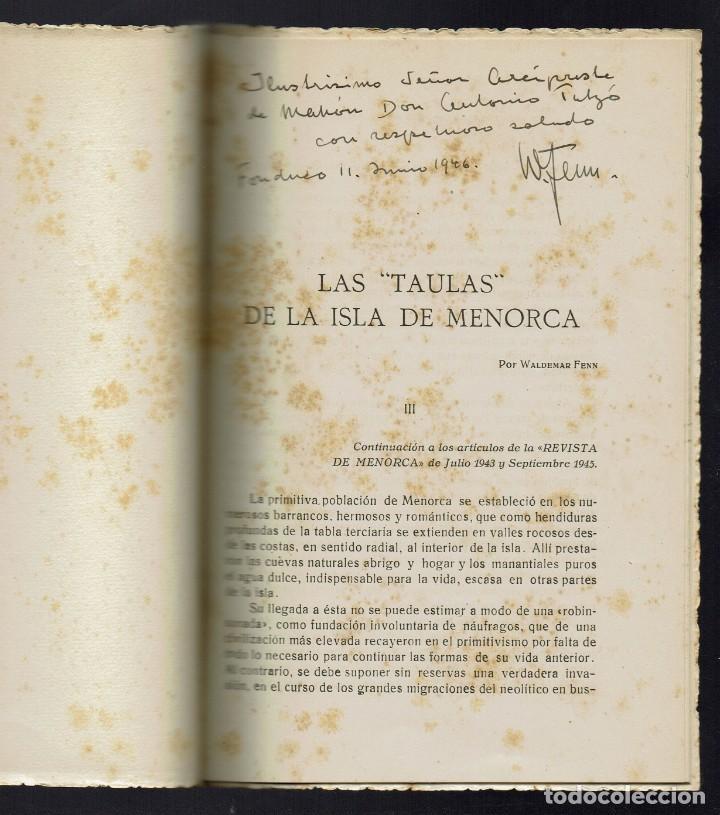 Libros de segunda mano: LAS TAULAS DE LA ISLA DE MENORCA, POR WALDEMAR FENN. DEDICADO POR EL AUTOR. AÑO 1946. (MENORCA.1.2) - Foto 2 - 156925770