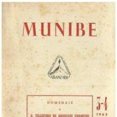 Libros de segunda mano: MUNIBE. AÑO 1962. ARQUEOLOGIA. GEOLOGIA. ESPELEOLOGIA. DOLMENES. BASTONES PERFORADOS. PAIS VASCO.. Lote 158319250