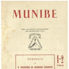 Libros de segunda mano: MUNIBE. AÑO 1962. HOMENAJE A TELESFORO DE ARANZADI UNAMUNO. ETNOGRAFIA. ANTROPOLOGIA. PAIS VASCO.. Lote 158321042