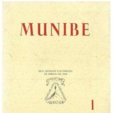 Libros de segunda mano: MUNIBE. AÑO 1961. ARQUEOLOGIA. GEOLOGIA. ESPELEOLOGIA. DOLMENES. PAIS VASCO.. Lote 158321642