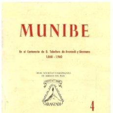 Libros de segunda mano: MUNIBE. AÑO 1960. ARQUEOLOGIA. GEOLOGIA. ESPELEOLOGIA. DOLMENES. PAIS VASCO.. Lote 158322106