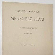 Libri di seconda mano: ESTUDIOS DEDICADOS A MENÉNDEZ PIDAL. LOS PRIMEROS ESPAÑOLES - LUIS PERICOT. Lote 165348850
