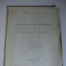 Libros de segunda mano: EXCAVACIONS DE BADALONA --JOSEP DE C. SERRA RAFOLS 1932. Lote 183182383