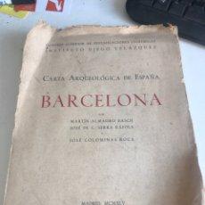 Libros de segunda mano: CARTA ARQUEOLÓGICA DE ESPAÑA BARCELONA. Lote 188800818