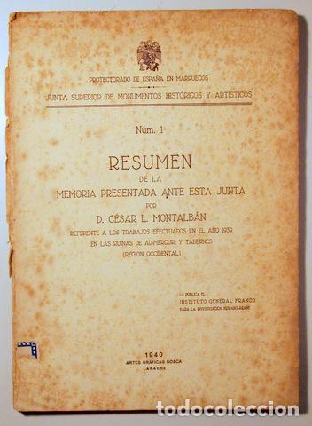 MONTALBÁN, CÉSAR L. - TRABAJOS EFECTUADOS EN EL AÑO 1939 EN LAS DUNAS DE ADMERCURI Y TABERNES - 1940 (Libros de Segunda Mano - Ciencias, Manuales y Oficios - Arqueología)